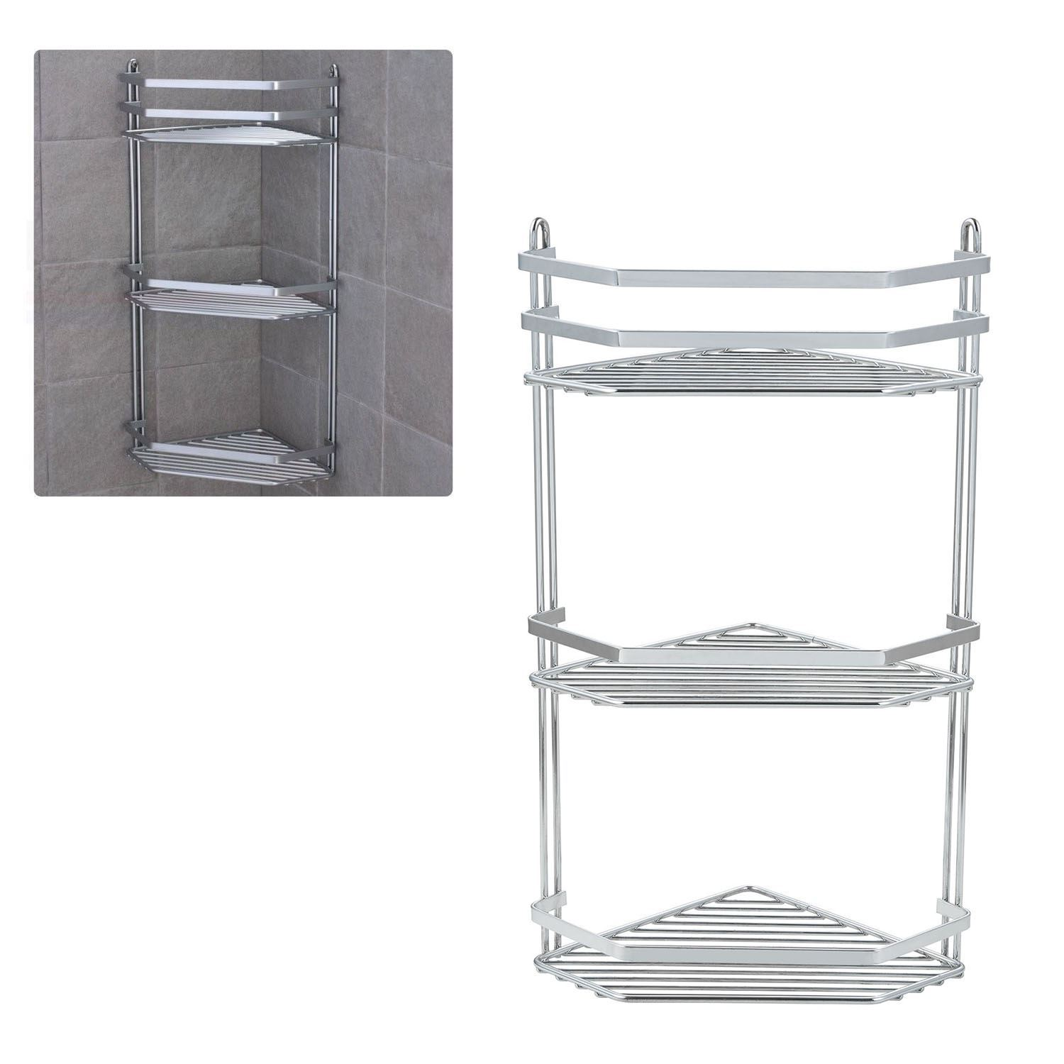 3 TIER CHROME CORNER SHOWER CADDY BATHROOM STORAGE RACK SHELF ...