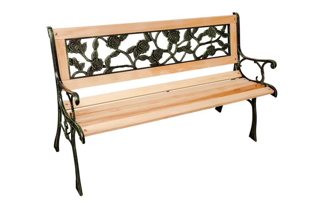 Fantastic Details About 3 Seater Wooden Rose Back Cast Iron Garden Patio Bench Seat Outdoor Park Seat Machost Co Dining Chair Design Ideas Machostcouk