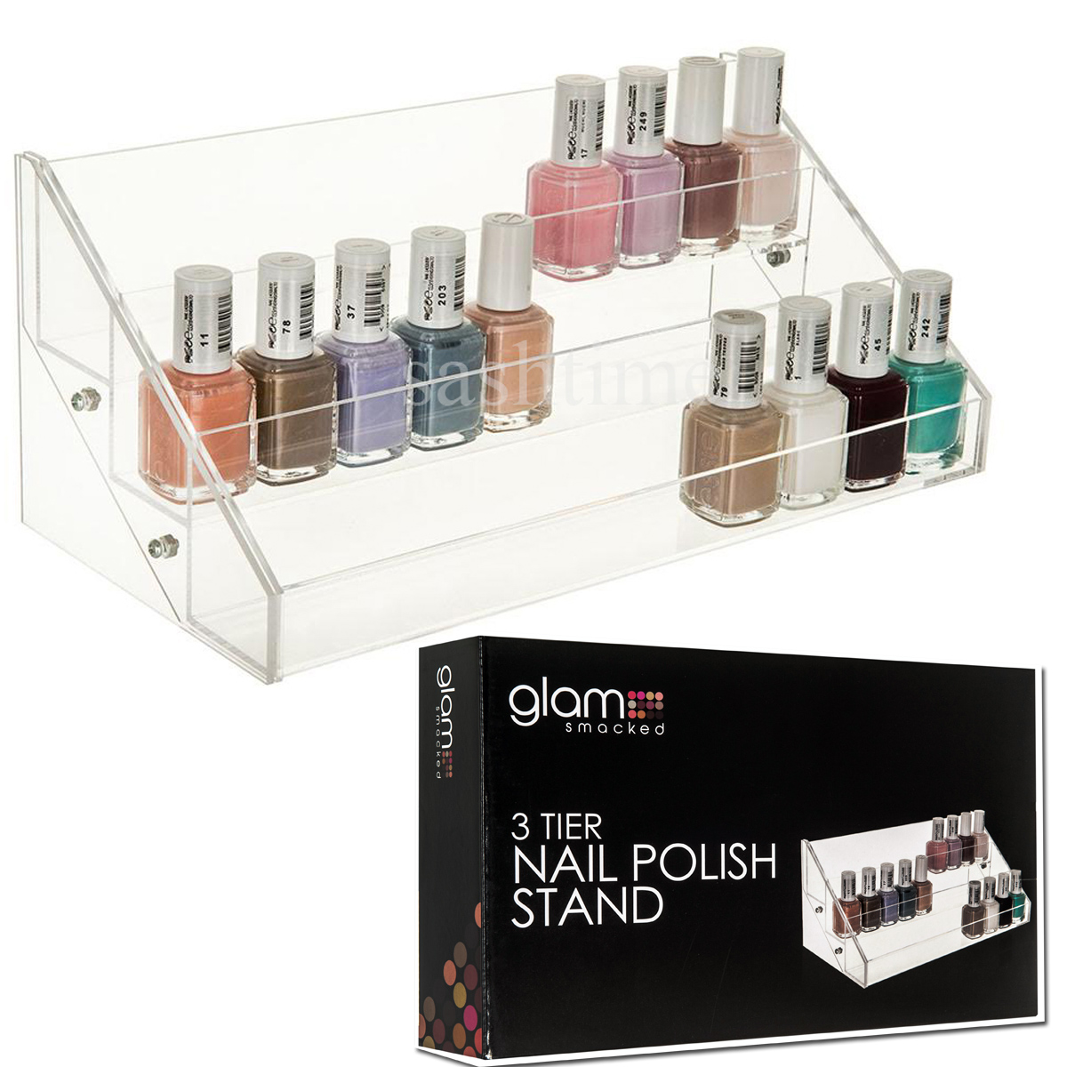 Exhibition Stand Builders Poland : Tier clear acrylic nail polish cosmetic varnish display