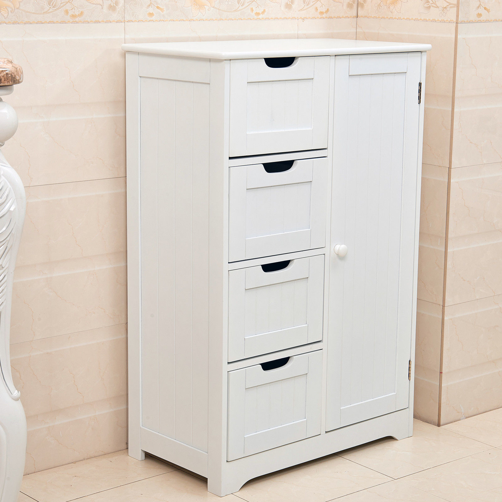 4 drawer bathroom cabinet new white wooden cabinet with 4 drawers amp cupboard storage 15307