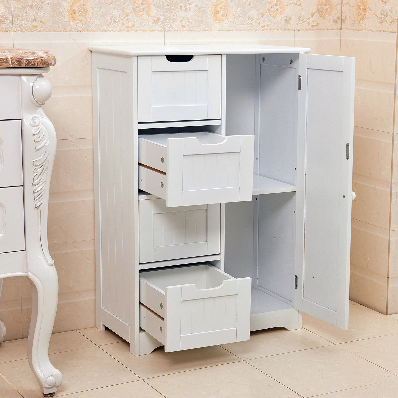 Storage Units Bathroom: White Wooden 4 Drawer Bathroom Storage Cupboard Cabinet