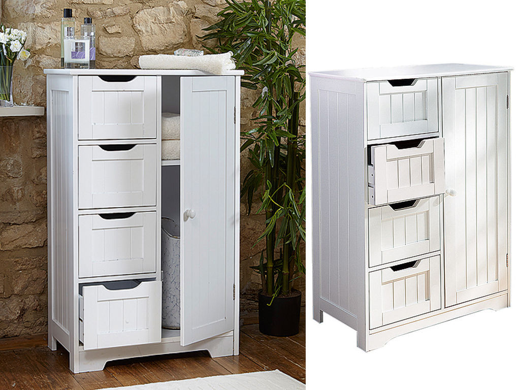 White wooden 4 drawer bathroom storage cupboard cabinet free standing unit bath 5060497646278 ebay for White bathroom cabinets free standing