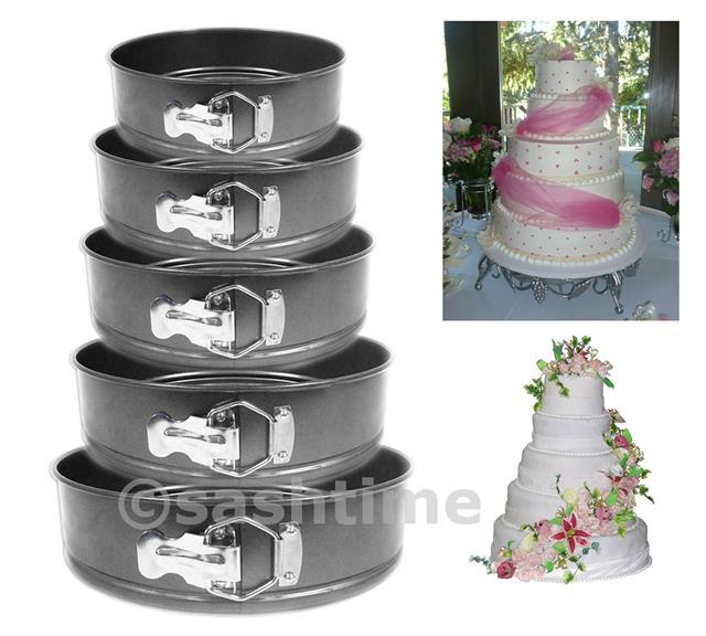 NEW 5PC NON STICK SPRINGFORM CAKE PAN BAKING BAKE ROUND