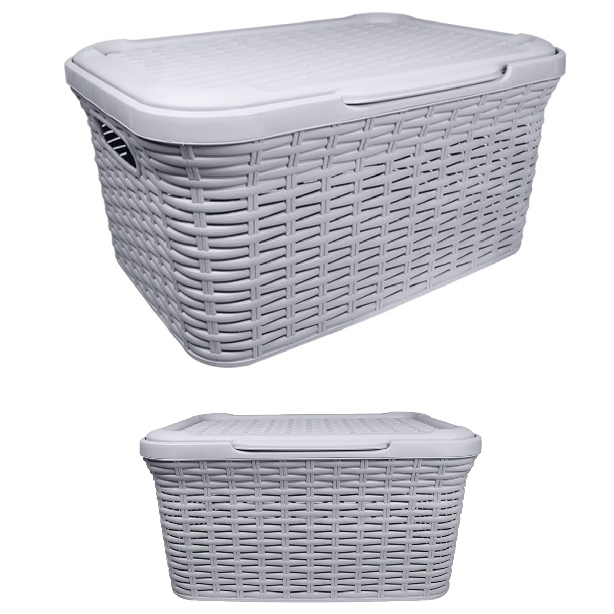 New 27l Rattan Effect Laundry Storage Basket Container Box