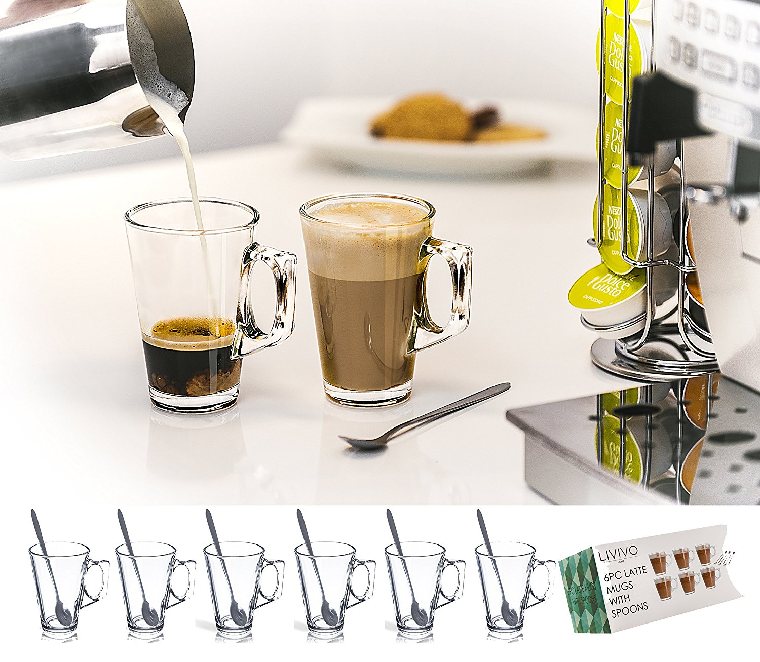 1c70cedf583 Details about 40 Nespresso Coffee Pod Tower Stand Holder W/ 6x240ML Latte  Glasses Mugs Spoons