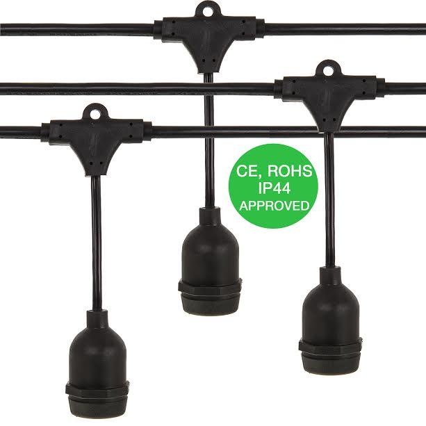 Livivo 39ft Hanging 9 Socket Bulb String Waterproof Garden