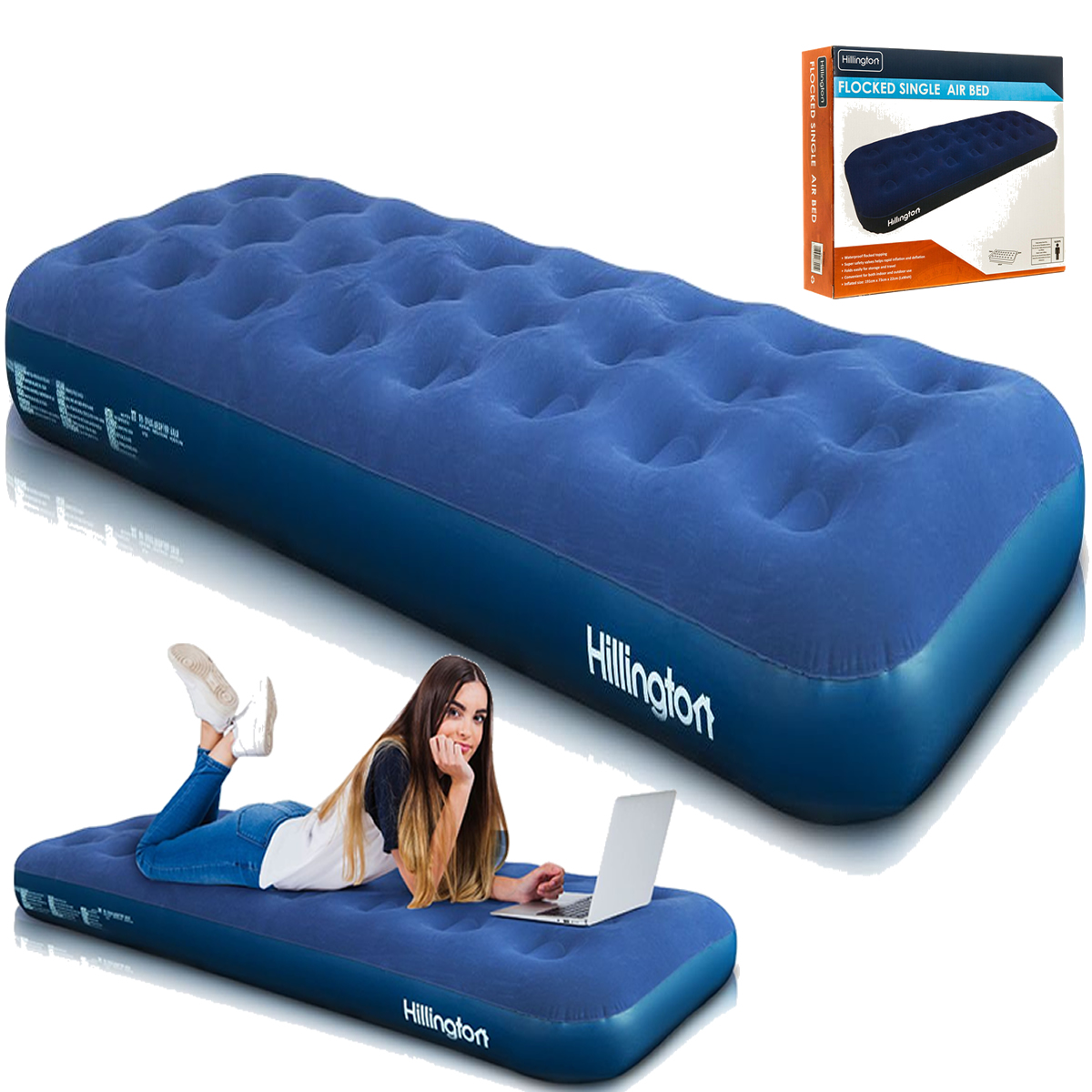 Ex Display Inflatable Single Flocked Airbed Camping Luxury Relaxing Air Bed  710