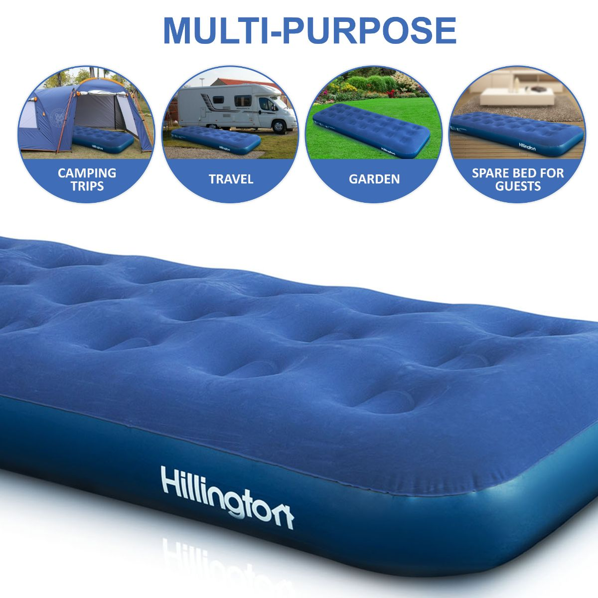 Inflatable Single Size Flocked Camping Air Bed Guest Occasional Mattress Airbed