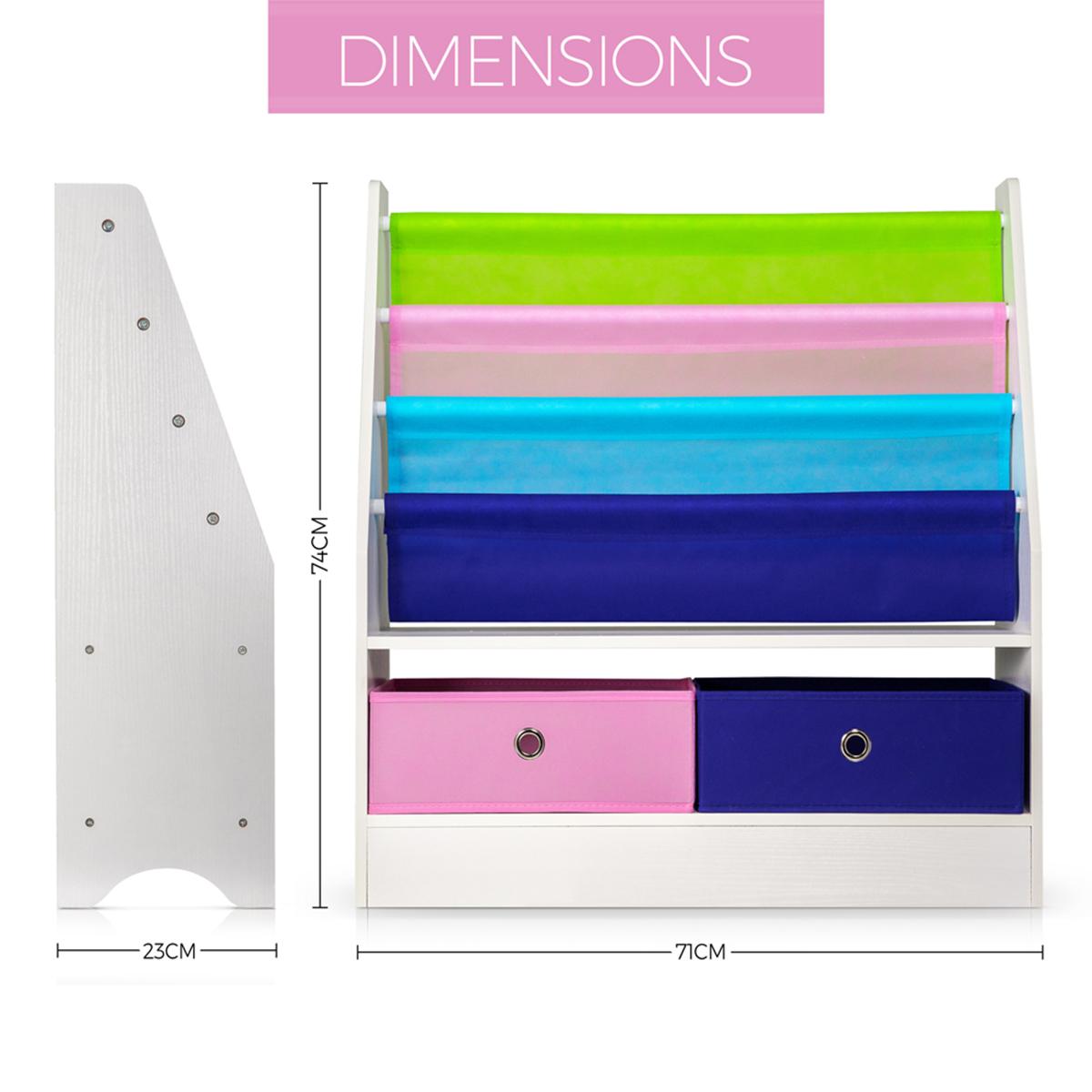 Wood Effect Kids Playroom Bedroom Storage Chest Trunk: 4 SLINGS 2 BOX CHILDREN BOOKS & TOYS STORAGE RACK WOODEN