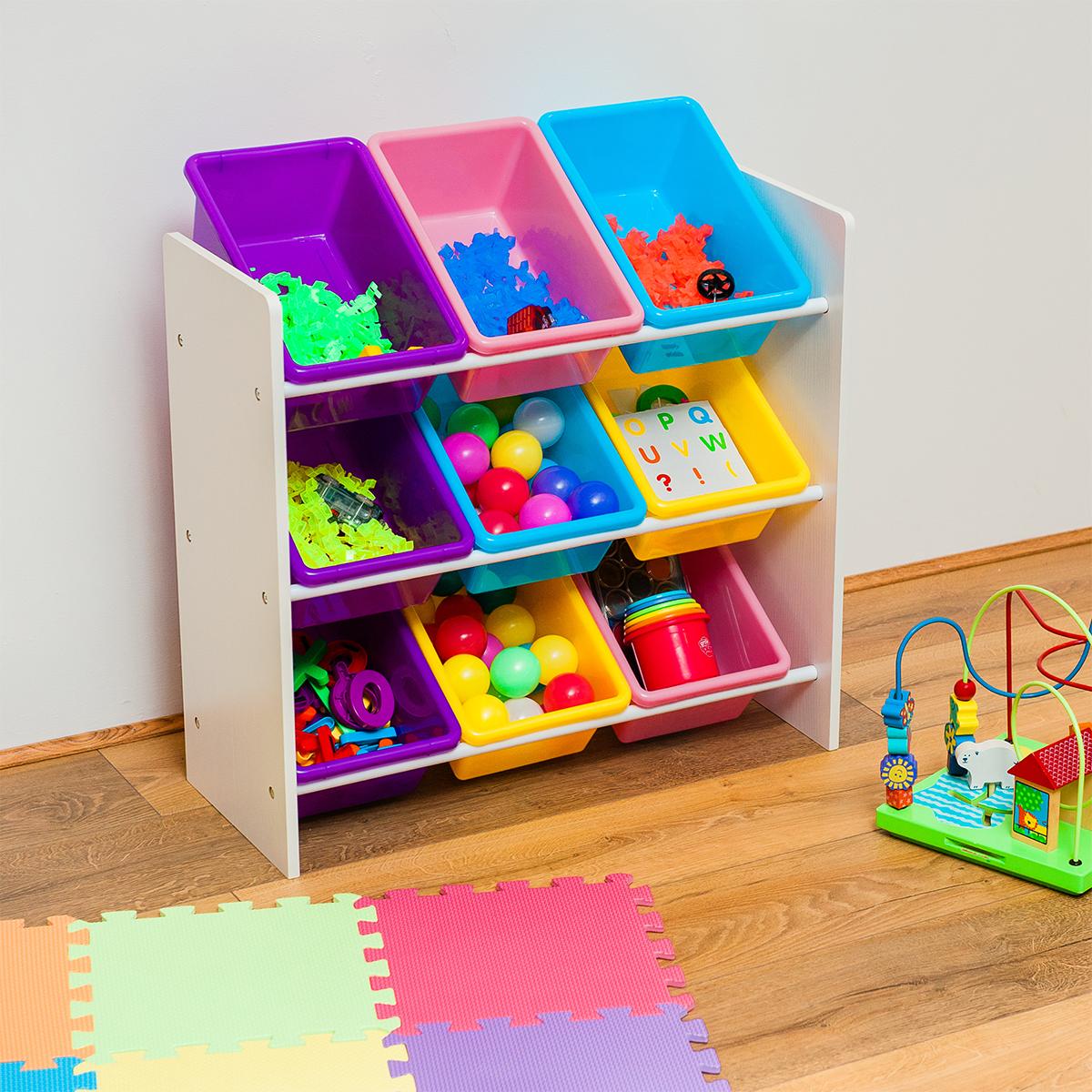 Children Books Amp Toys Storage Rack 9 Tube Wooden Bedroom