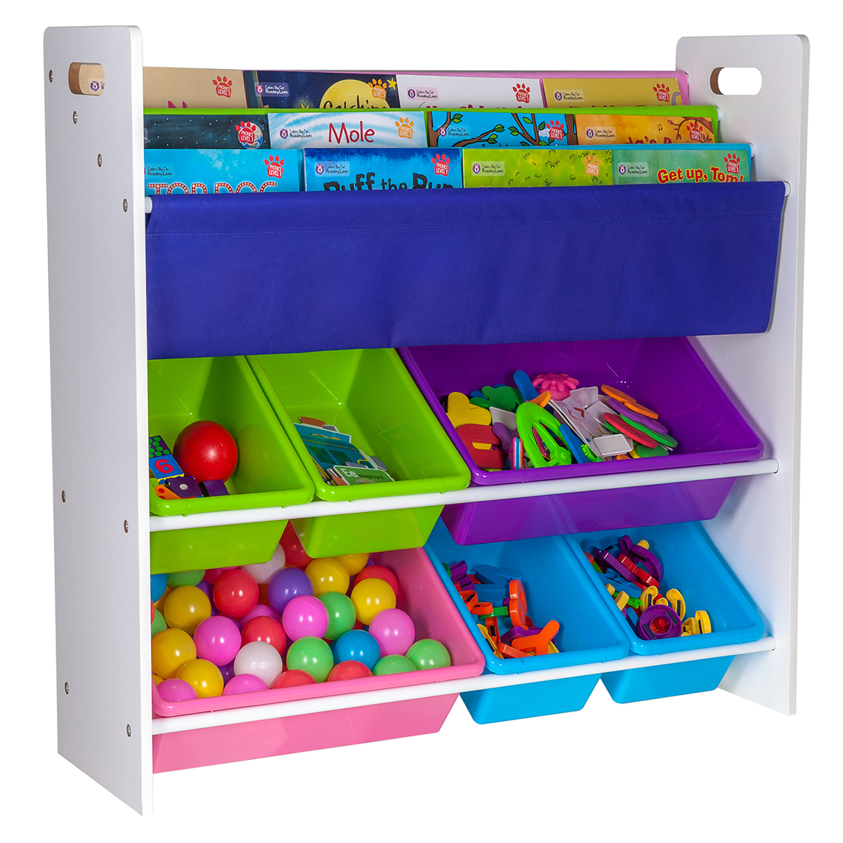 Kids Bedroom Furniture Kids Wooden Toys Online: 4 SLINGS 6 BOX CHILDREN BOOKS & TOYS STORAGE RACK WOODEN