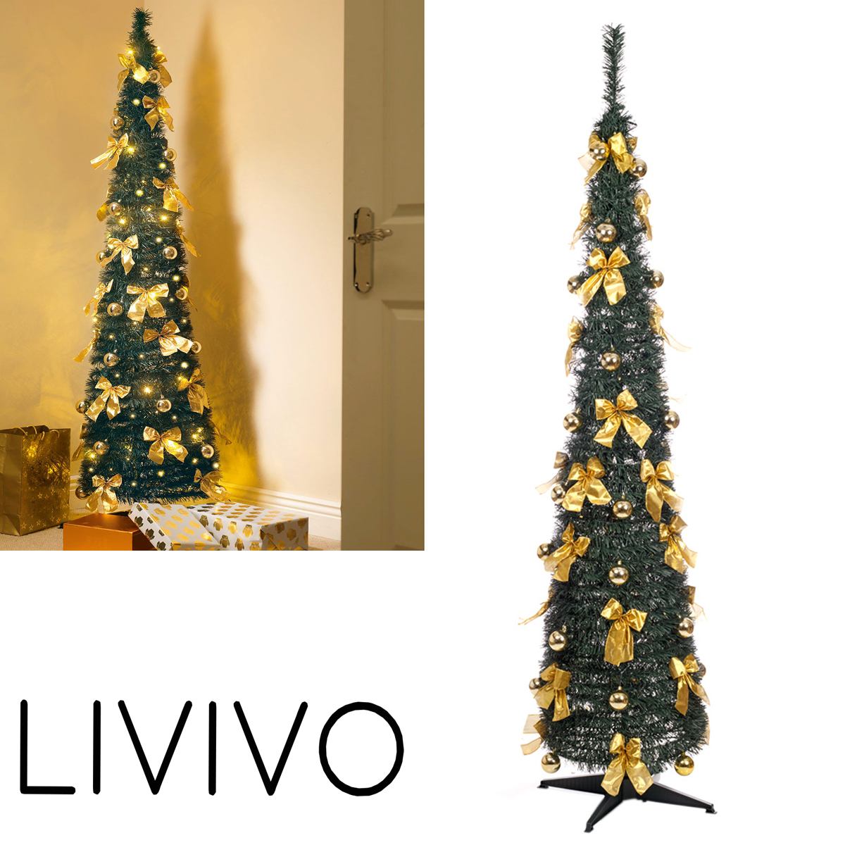 Details About Pop Up Christmas Tree 6ft 60 Led Artificial With Bows Realistic Xmas Decoration