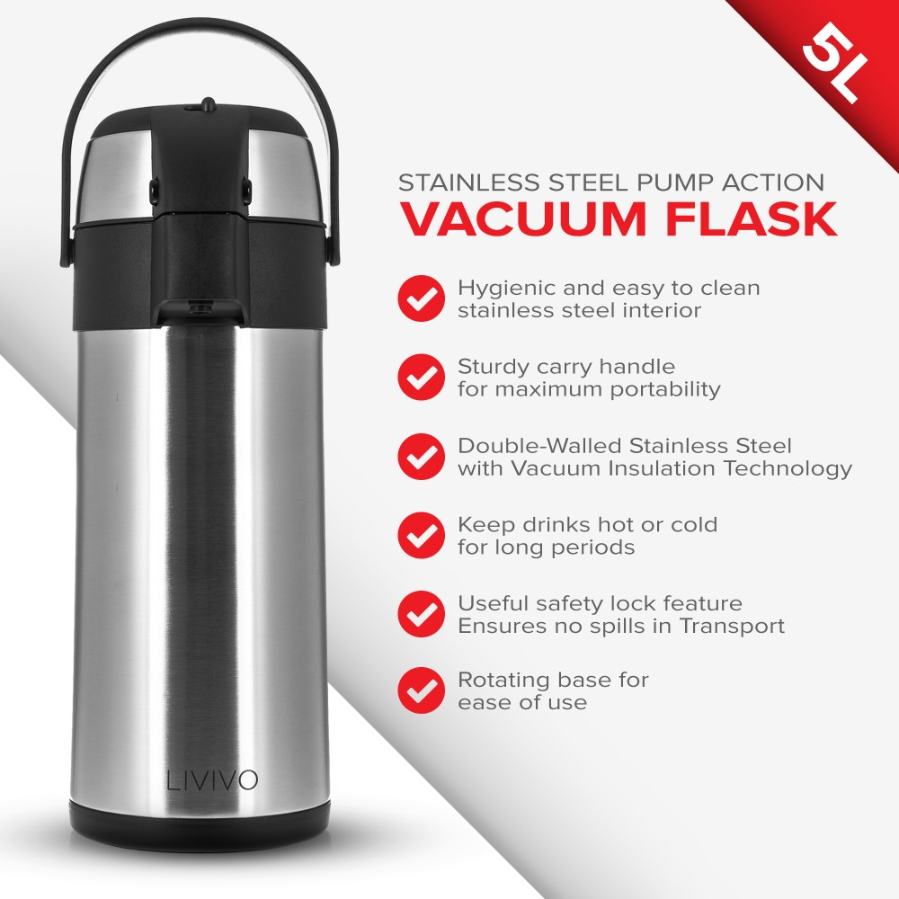 Details about 3L/5L LIT STAINLESS STEEL AIRPOT HOT TEA COFFEE DRINKS VACUUM  FLASK THERMOS JUG
