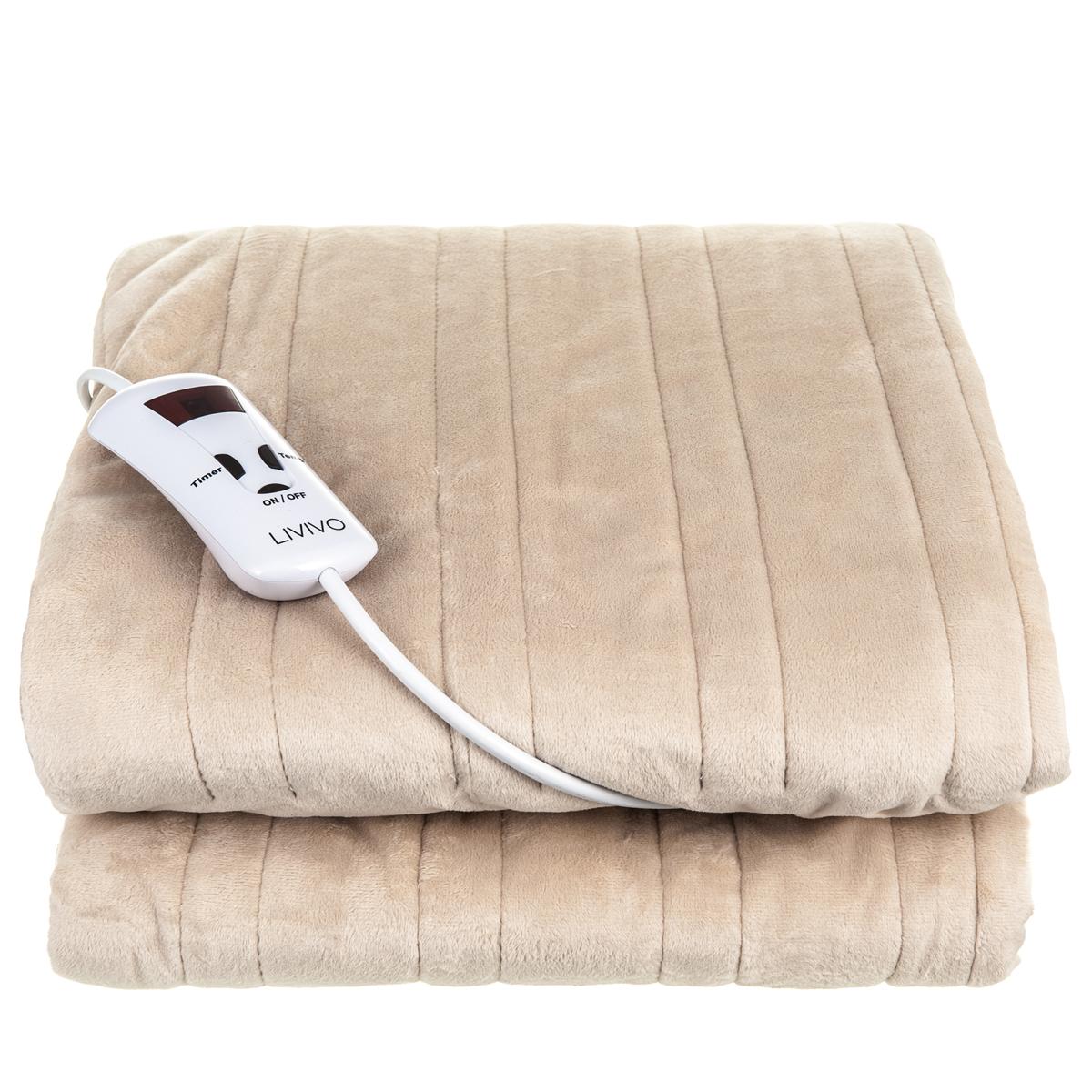 Electric Heated Blanket Warm Soft Over Throw Fleece Rug Digital Timer Controller