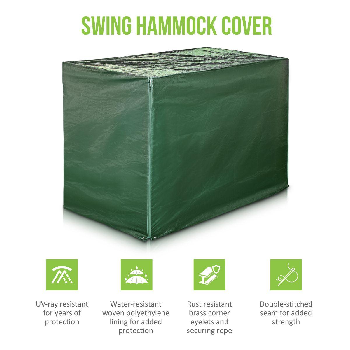 Heavy Duty Waterproof 3 Seater Swinging Garden Hammock Cover with Zips Green