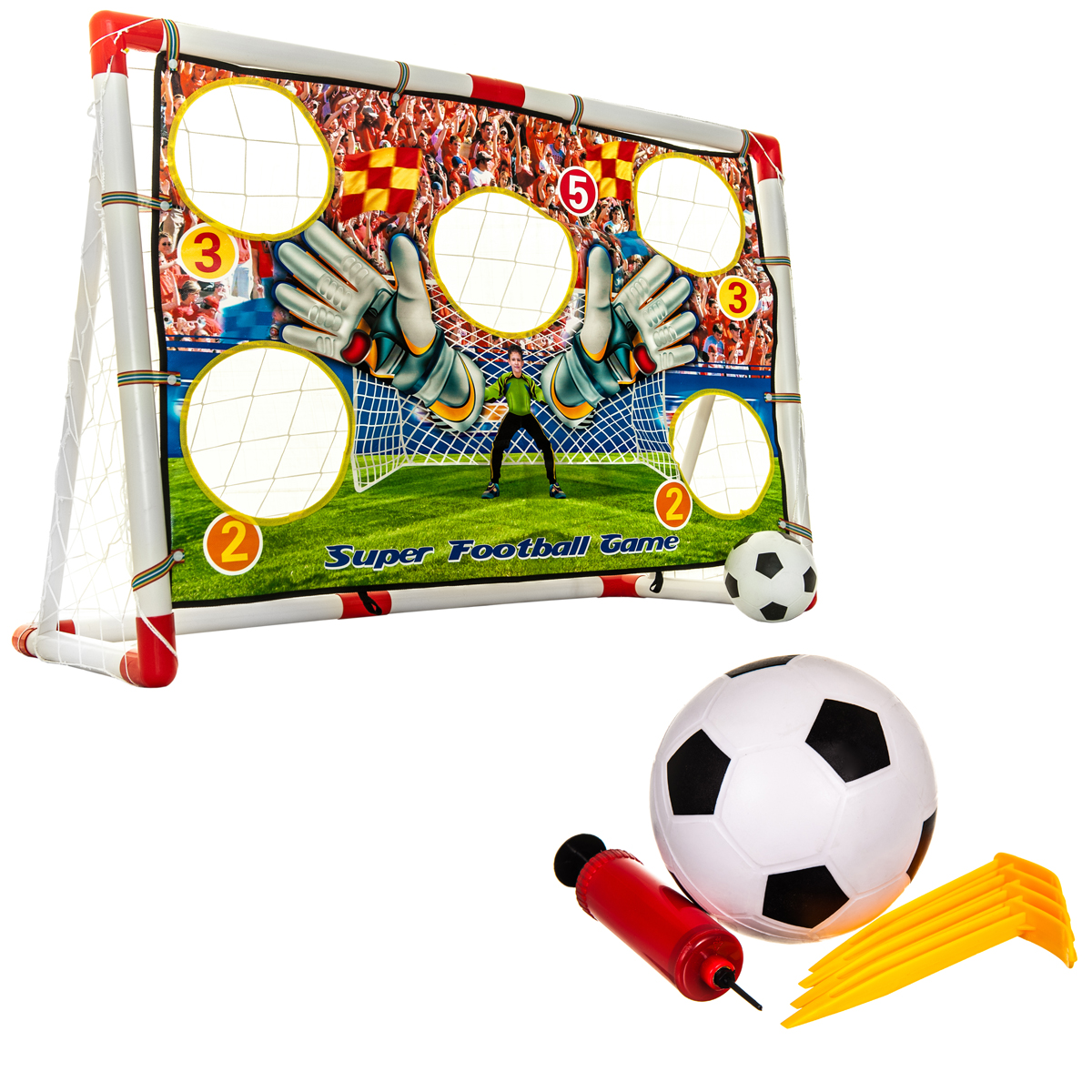 KIDS TARGET FOOTBALL SOCCER GOAL NET SET INDOOR OUTDOOR WITH BALL FAMILY GAME