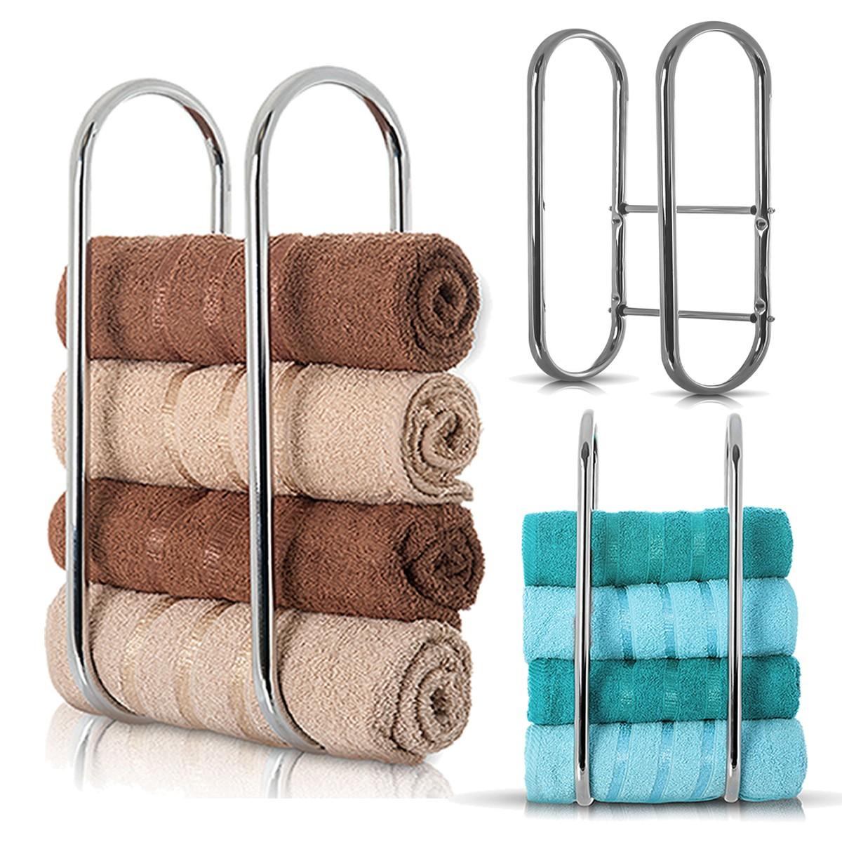 Wall Mounted Chrome Towel Holder Shelf Bathroom Storage