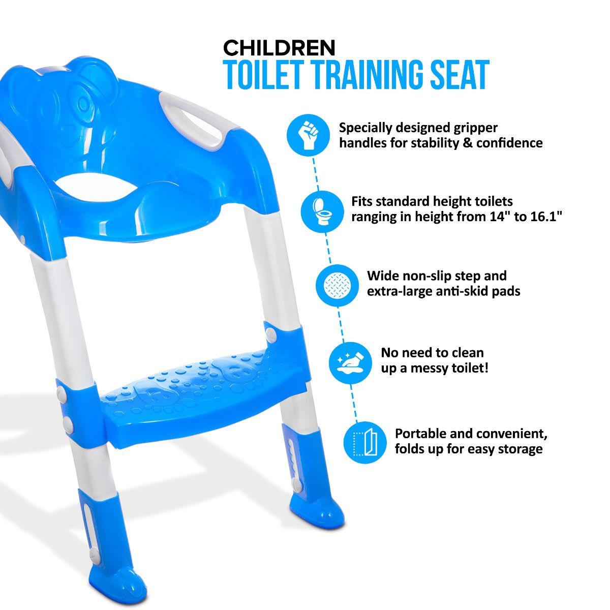 TEDDIE KIDS BABY CHILD TODDLER POTTY LOO TRAINING TOILET SEAT STEP LADDER SAFETY