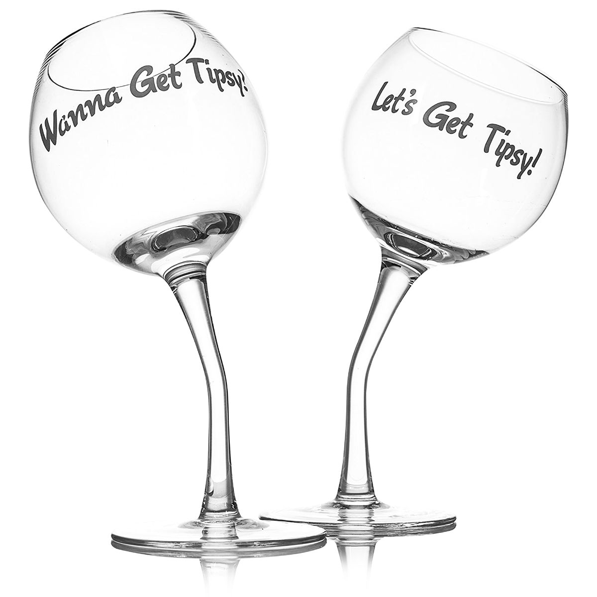 2 TIPSY WINE GLASS WEDDING DAY ANNIVERSARY GIFT PRESENT GLASSES DRINKING XMAS