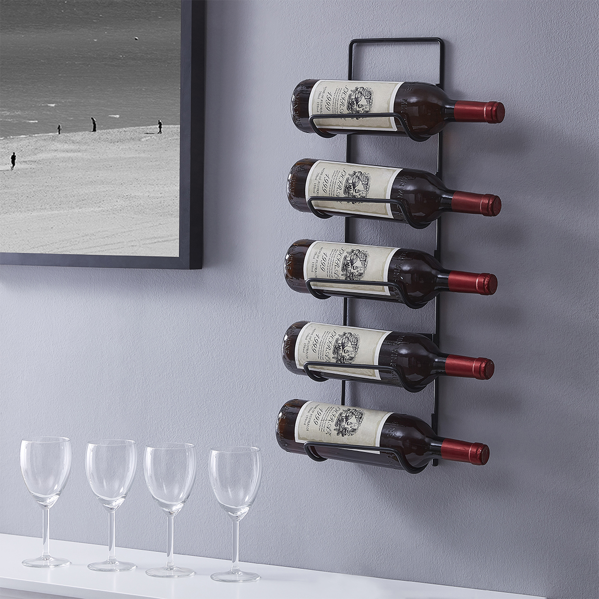 Towel Rack 5 Bottle Wall Mounted Metal Wine Rack