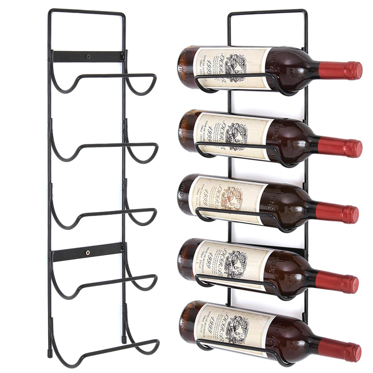5 Wall Mounted Black Metal Wine Rack Towel Champagne Bottles Holder Storage Ebay