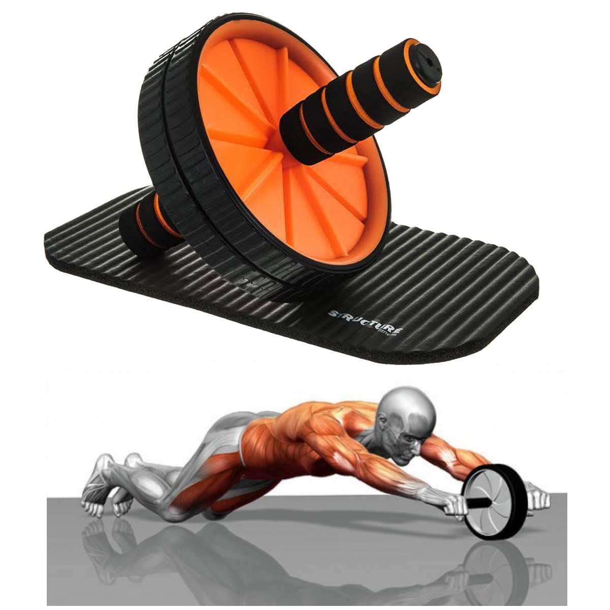Ab Roller Wheel Abdominal Fitness Gym Exercise Equipment Core Workout Training