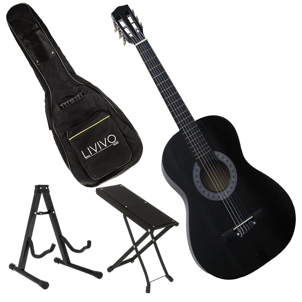 4in1 3 4 size 36 acoustic 6 nylon strings guitar music stand foot stool bag ebay. Black Bedroom Furniture Sets. Home Design Ideas