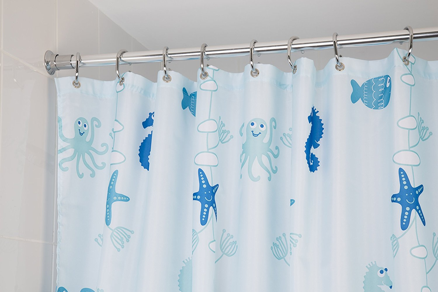 new croydex underwater world textile shower curtain. Black Bedroom Furniture Sets. Home Design Ideas
