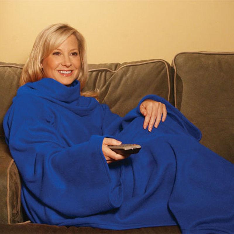 New Cuddle Soft Fleece Snug Blanket Sleeves Snuggle Cosy