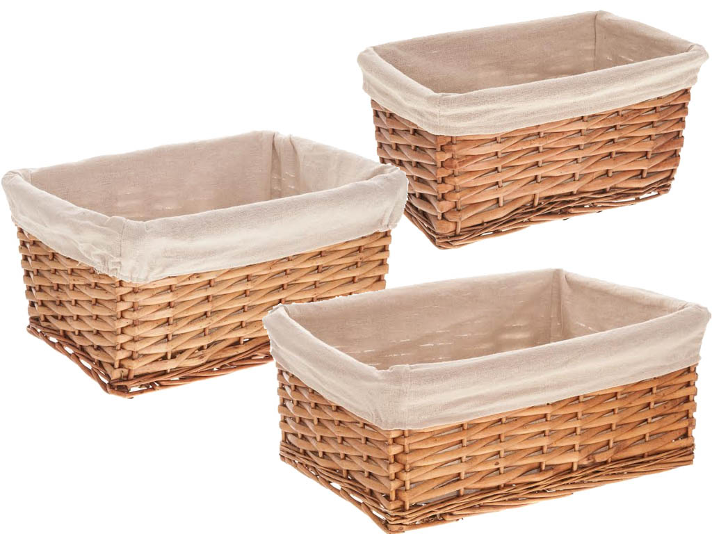 Wicker Willow Storage Basket Hamper With Lining In Small
