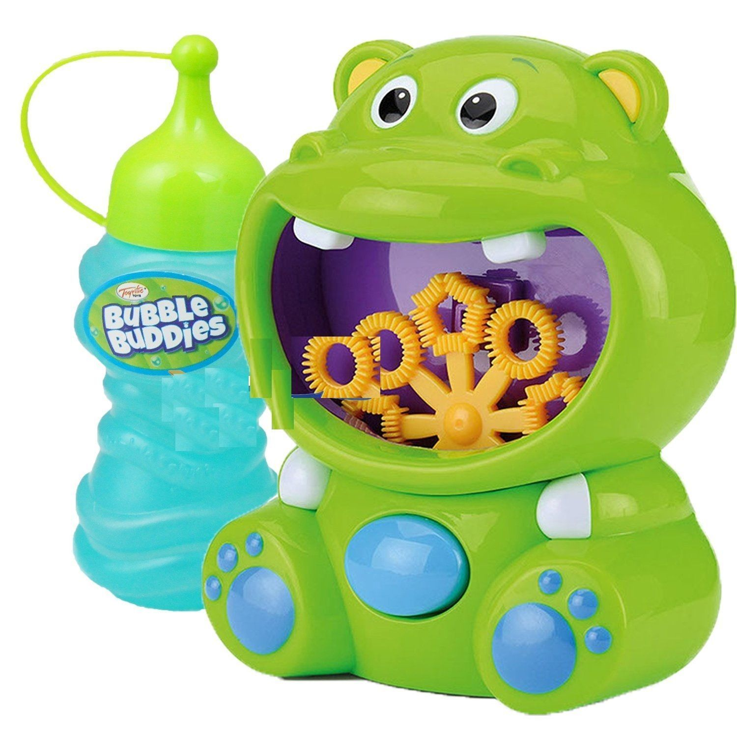CHILDREN GREEN HIPPO BUBBLE MACHINE MAKER SOLUTION KIDS PARTY TOY ...