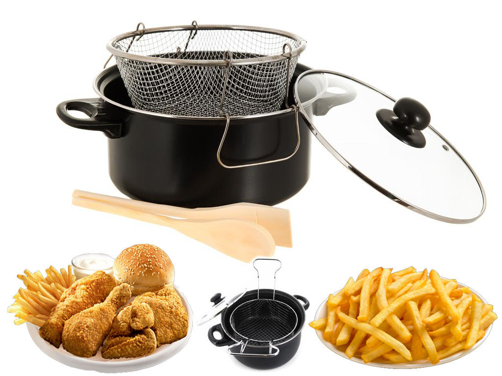 Black Non Stick Chip Pan Set Fryer Deep Fat Frying Basket