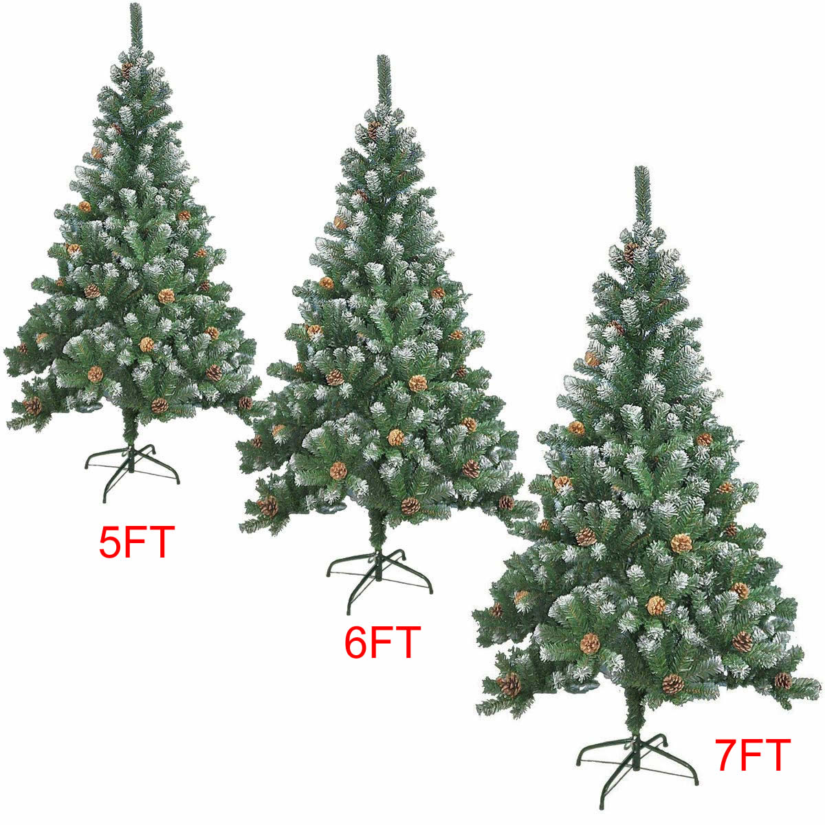 7ft Christmas Tree.Details About 5 6 7ft Large Artificial Christmas Tree Snow Cones Realistic Xmas Decoration
