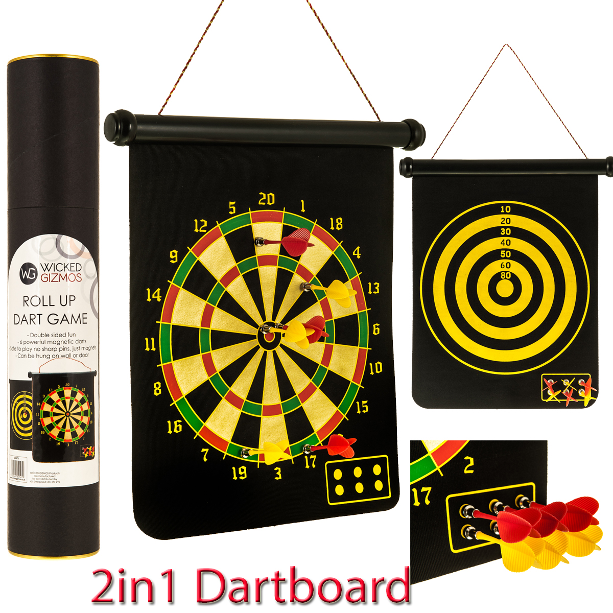 2in1 Magnetic Dartboard Roll Up 6 Magnet Darts Game Dart Board