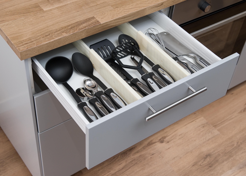 2 x drawer dividers partition spring loaded expandable kitchen bedroom organiser 5060497641020. Black Bedroom Furniture Sets. Home Design Ideas