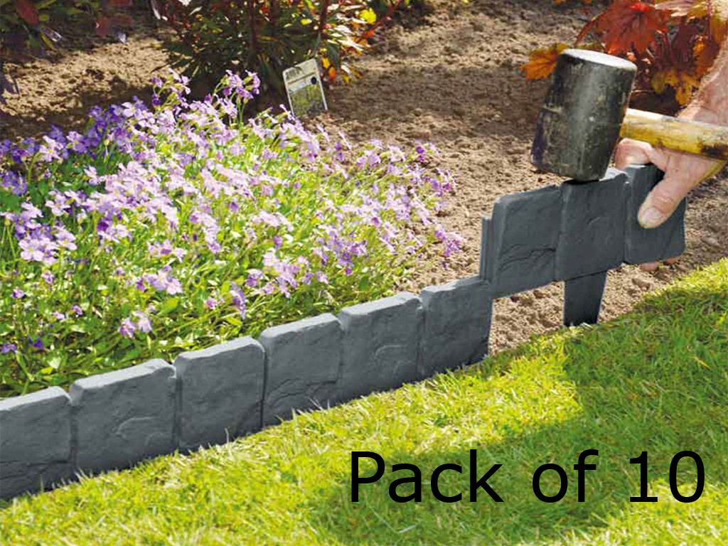 livivo 10 x cobbled stone effect garden edging plastic hammer in lawn palisade 5053878541545 ebay. Black Bedroom Furniture Sets. Home Design Ideas
