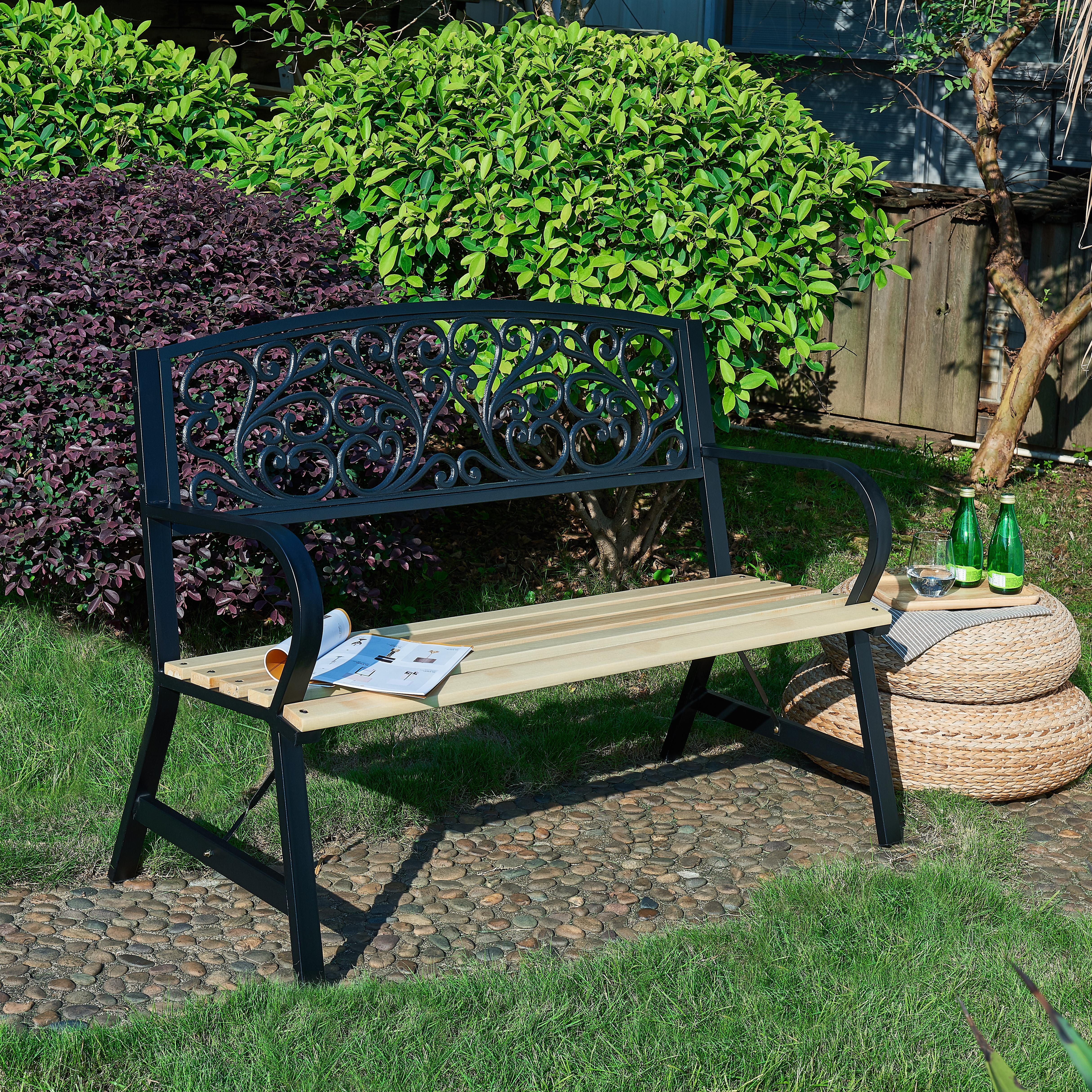3 Seater Cast Iron Garden Outdoor W Floral Design Back Park Bench
