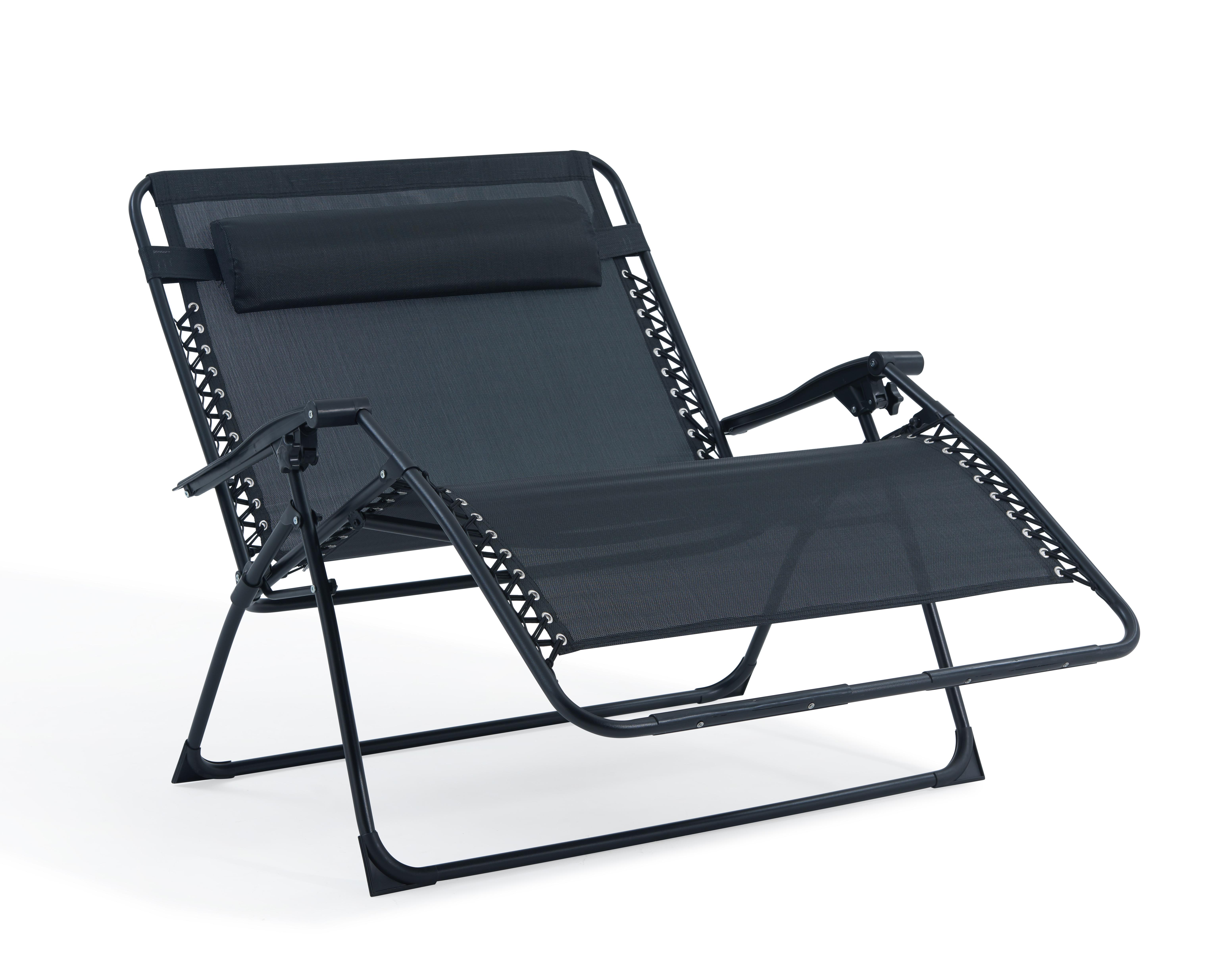 2 PERSON LOVE SEAT FOLDING GRAVITY SUN LOUNGER CHAIR RECLINER GARDEN OUTDOOR