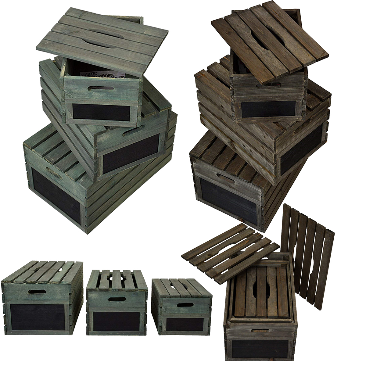 Details About Rustic Wooden Crates With Lids Retail Display Shelf Box Storage Gift Hampers New