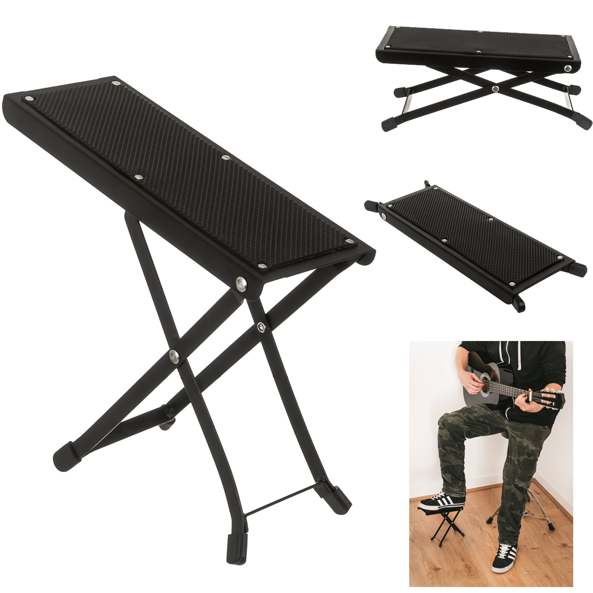 Outstanding Details About Guitar Foot Stool Black Folding Footstool Rest Acoustic Classical Practice Uk Evergreenethics Interior Chair Design Evergreenethicsorg