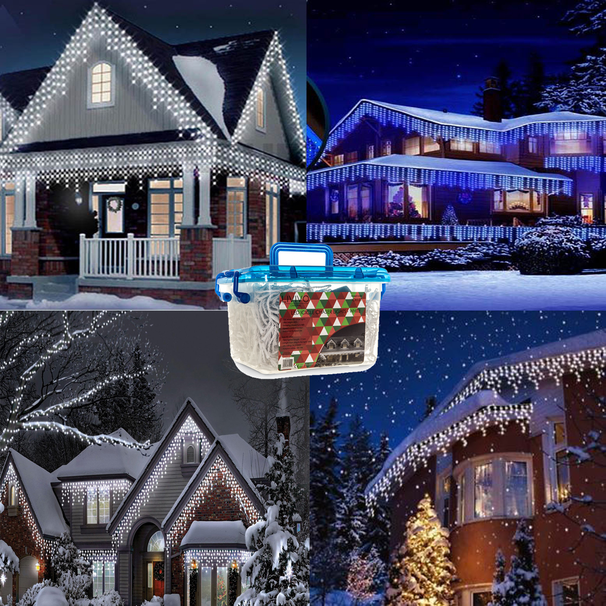 480 Led White Blue Icicle Christmas Lights Snowing Hanging