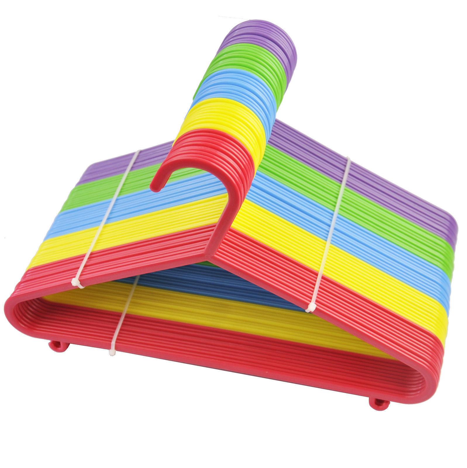 40 50 Multicoloured Children Kids Plastic Coat Hangers