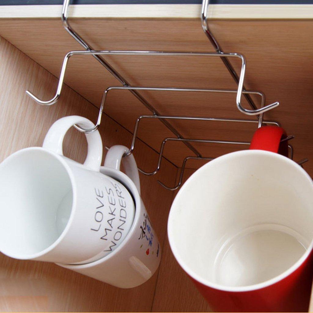 10 Cup Under Shelf Mug Holder Hangers Storage Racks