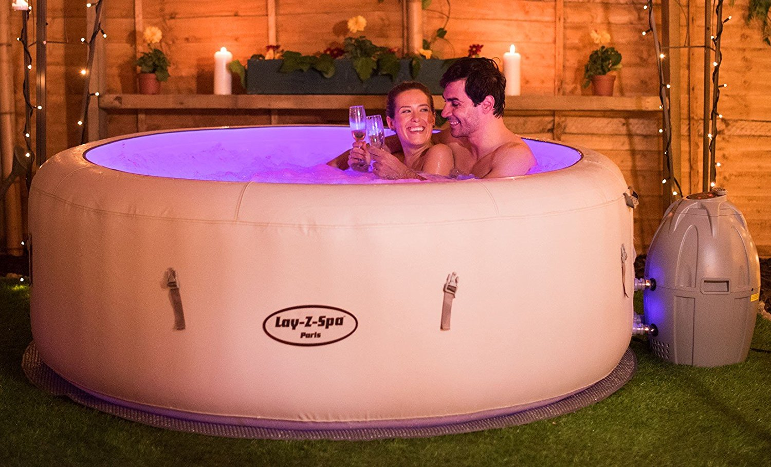 Bestway lay z spa hot tub inflatable swimming pool saint for Floating swimming pool paris