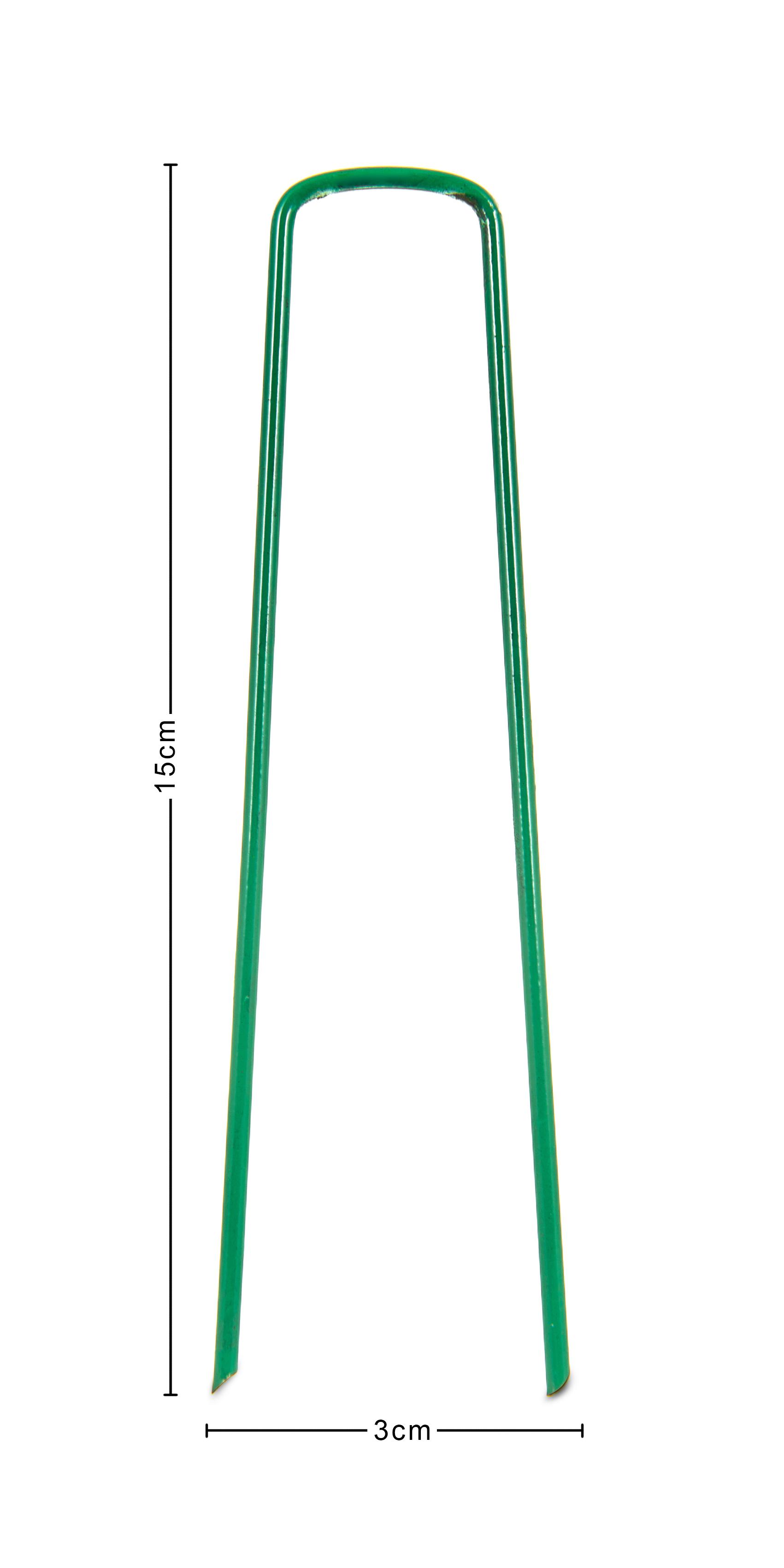 20 x U PINS GREEN ARTIFICIAL GRASS TURF GALVANISED METAL PEGS STAPLES WEED HOOKS