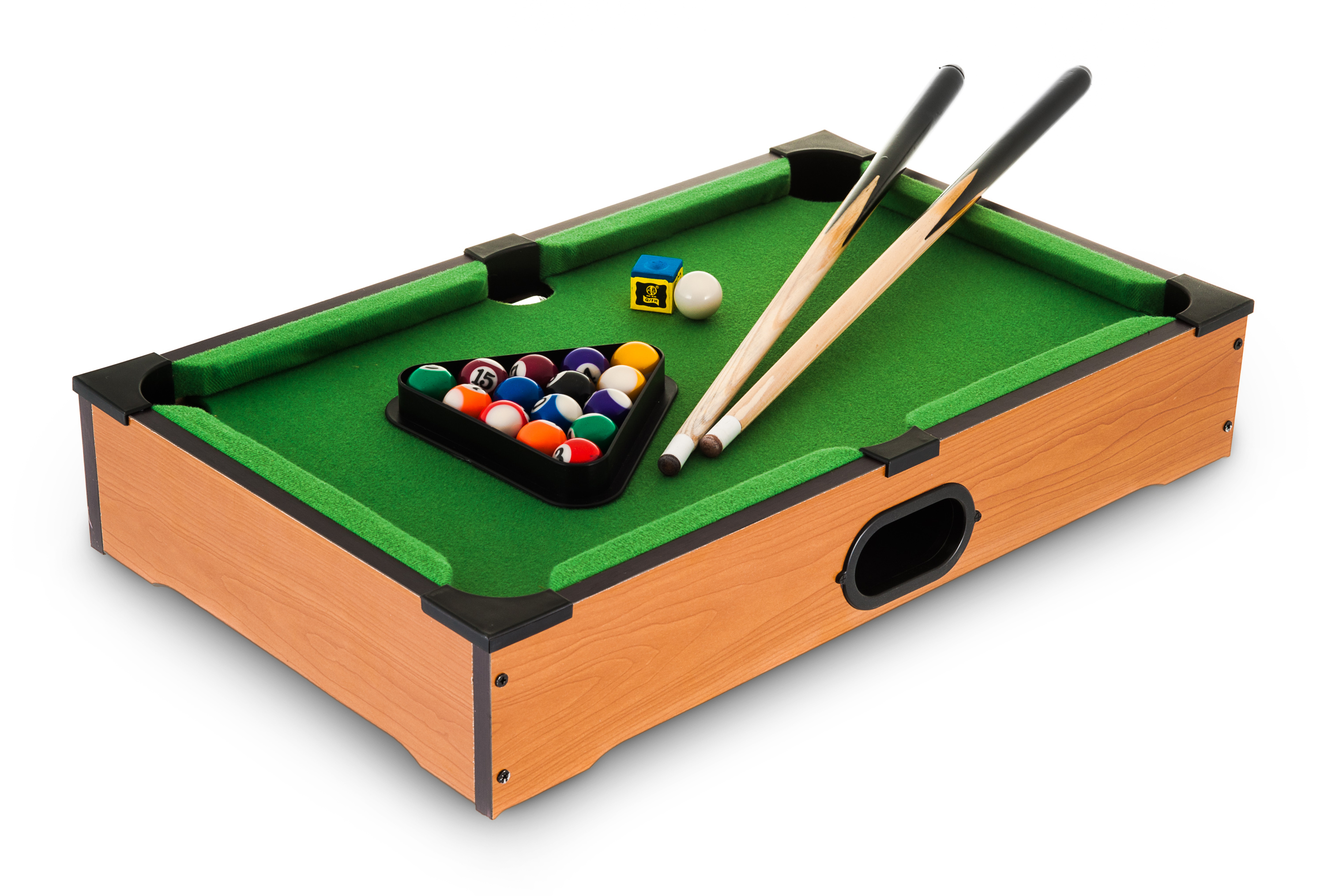 WOODEN TABLE TOP MINI DELUXE KIDS CHILDREN POOL PLAY SET CUES BALLS - Used mini pool table