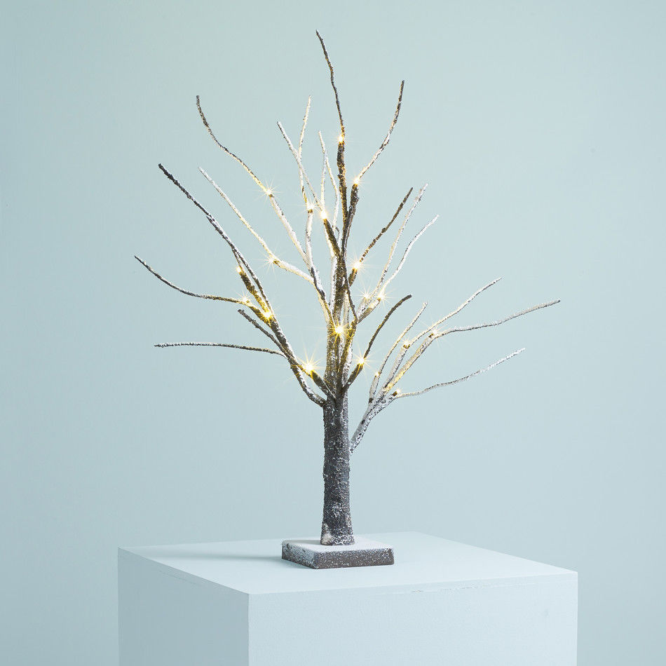 Christmas Tree With Lights Tesco: 2ft Snowy Effect Warm White Twig Tree Pre-lit 24 LED