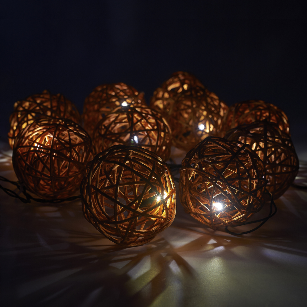 Warm White Solar Garden Fairy Lights: 10 SOLAR POWER RATTAN WICKER BALL STRING LIGHTS FAIRY WARM