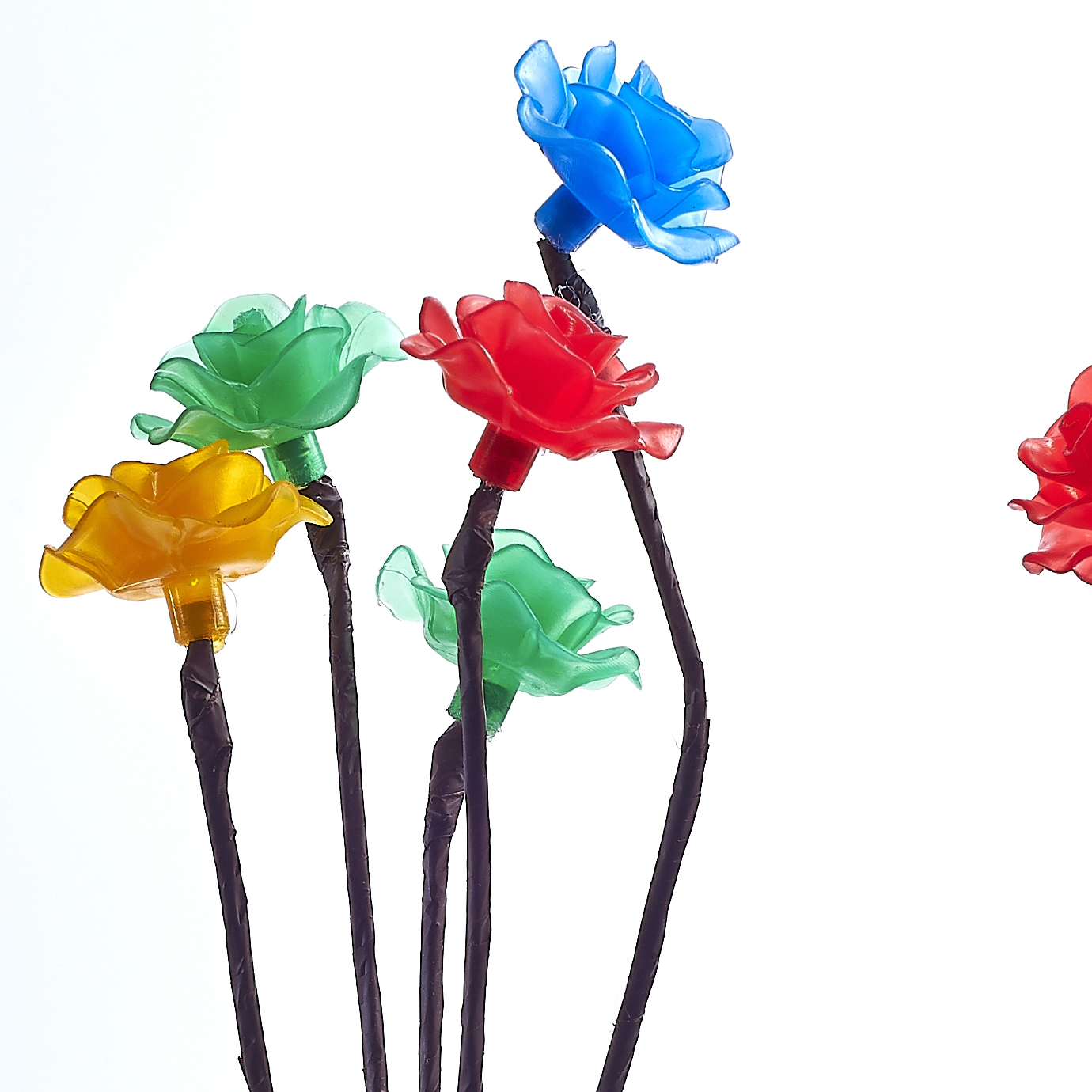 New 3 X Coloured 15 Flower Rose Floral Tree Solar Outdoor