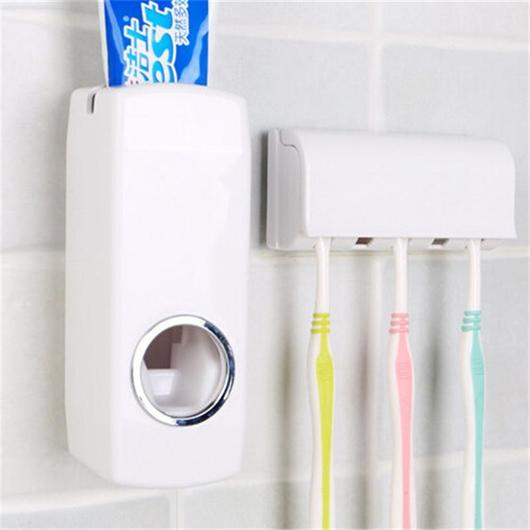 Automatic Toothpaste Dispenser 5 Toothbrush Holder Stand Wall
